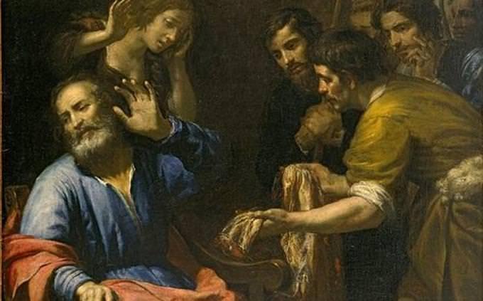 """חידון תנ""""ך: איור של בני יעקב מציגים בפניו את הכותונת של יוסף"""