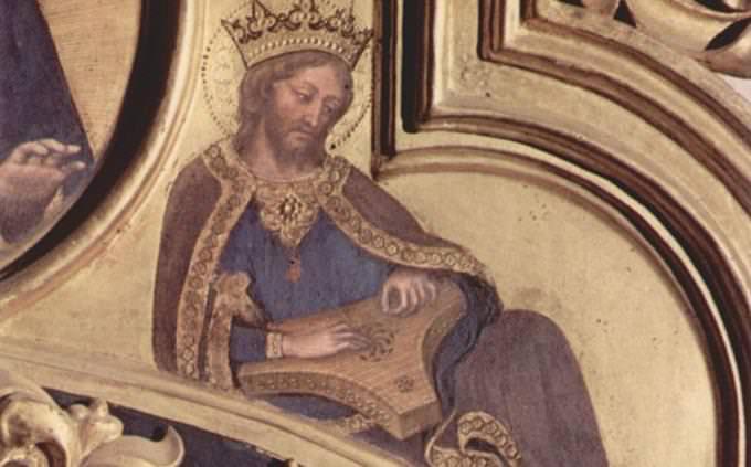 """חידון תנ""""ך: איור של המלך דוד מנגן על נבל עתיק"""