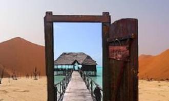 דלת המדמה כניסה לים באמצע המדבר